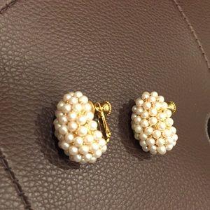 Napier faux pearl cluster clip-on earrings